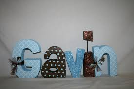 Wooden Nursery Decor by Nursery Letters Nursery Decor Blue And Brown 5 Letter Set