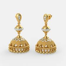 gold jhumka earrings the charming ojaswini jhumka bluestone