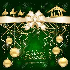 green christmas background with golden baubles and christian