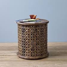 Mango Wood Side Table Gilded Brass Side Table West Elm