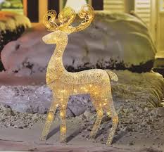 Lighted Deer Lawn Ornaments by 48 Lighted White Glitter Standing Buck Outdoor Christmas Yard Art