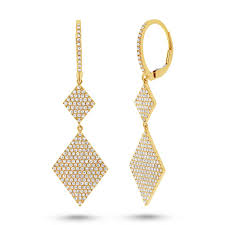 hanging earrings diamond shaped hanging earrings in 14k gold jen k designs