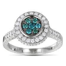 blue rings white images 14k gold white and blue diamond ring for women 0 8ct cluster jpg