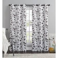 95 Inch Curtain Panels 95 Inch Chocolate White Leaf Swirl Curtain Single Panel
