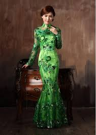 light green dress with sleeves chinese long sleeve cheongsam lace flowers embroidery mermaid