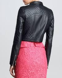 pink leather motorcycle jacket jason wu womens padded leather motorcycle jacket black in black lyst