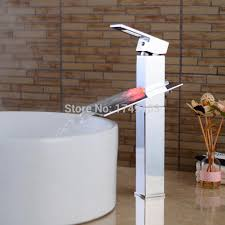 Tall Single Handle Bathroom Faucet Led Water Flow Chrome Waterfall Bathroom Sink Faucet Color