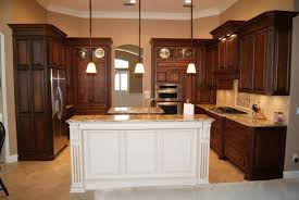 espresso kitchen cabinets with white island photos information