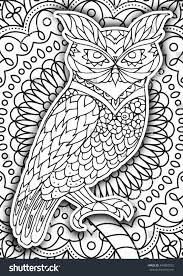 printable coloring book page adults owl stock vector 449882032