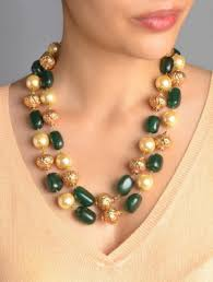 necklace with green stone images Moti necklace green stone pearl long necklace online shopping jpg