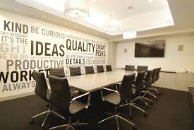 modern small meeting room design showing three frosted glass