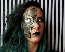 Metal Halloween Costumes Steampunk Apocalyptic Mask Fake Metal Cyborg Robot