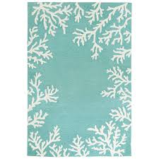 Aqua Outdoor Rug Rug Coral Border In Aqua Tufted
