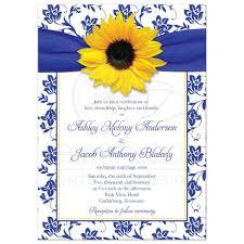 blue and yellow ribbon wedding invitation sunflower damask royal blue yellow