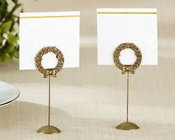 gold laurel place card holders wedding table decoration