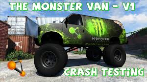 monster truck crash videos youtube beamng drive the monster van v1 crash testing 49 youtube