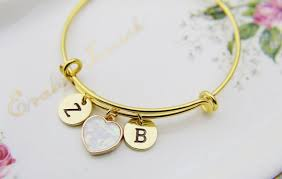Customized Gold Bracelets Heart Bracelet Imitation Opal Charm Bracelet Personalized Bangle