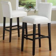 24 Inch Bar Stools With Back Bennett White Faux Leather 24 Inch Counter Height High Back Stools