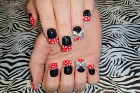 acrylic nails l new set l black u0026 red french l polka dot nail
