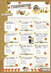 quiz thanksgiving worksheets festival collections