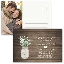 rustic save the date rustic save the date postcards jar photo card