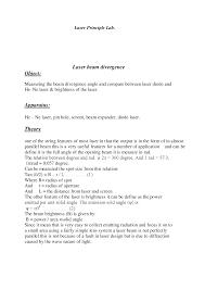 laser beam divergence laboratory manual physics pdf