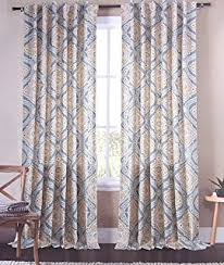 Tan And Blue Curtains Amazon Com Envogue Alice Ornate Medallions Pair Of Curtains 2