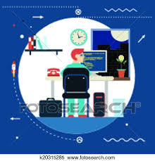 graphic design works at home clipart of programming and web development concept symbol