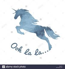 Blue Gray Color Unicorn Watercolor Romantic Blue Gray Color Unicorn Silhouette