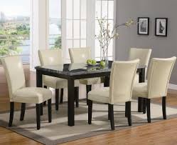 Amazon Dining Room Furniture 7pc Dining Table And Cream Parson Chairs Set In Deep Cappuccino