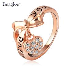 aliexpress buy beagloer new arrival ring gold beagloer brand brand black enamel ring heart bow gold
