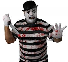 killer mime fancy dress mens ladies halloween costume hat