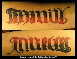 colored ink beautiful family forever ambigram tattooshunt com