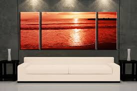 Living Room Art Canvas by Triptych Ocean Sunset Red Photo Canvas