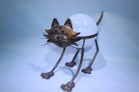 solar power metal cat garden ornaments garden ornament buy