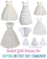 white modest girls dresses for baptism