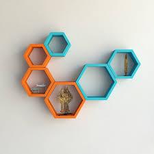 designer hexagon shelf set by decornation orange u0026 sky blue