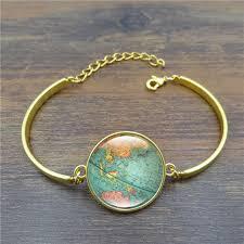 silver jewelry charm bracelet images Creative globe map bracelets bangles planet earth world map art jpg