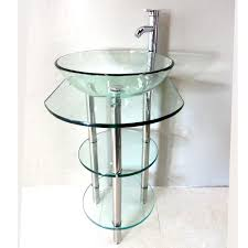 clear tempered glass pedestal vanity and sink combo free