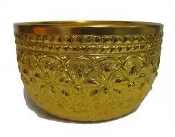 thai design gold aluminum bowl size 22cm thaifairshop
