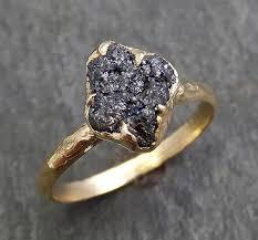 black gemstone rings images Rough raw black diamond engagement ring raw 14k yellow gold jpg