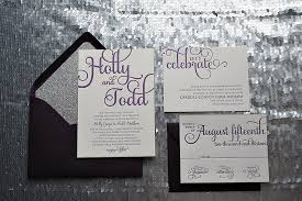 silver wedding invitations purple