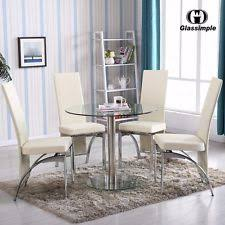 Round Glass Table And Chairs Round Glass Dining Table Ebay