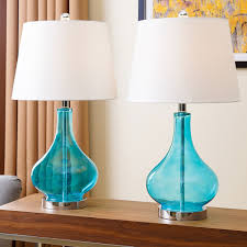 Blue Glass Table Lamp Abbyson Living Luciana Turquoise Glass Table Lamp Set Of 2