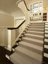 decorating beautiful white carpet stair treads with black rail