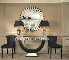 table stunning black orchid luxury quartz mirrored console table