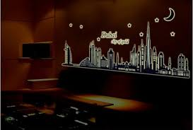 Glow In The Dark Home Decor Glow In The Dark Luminous Night Dubai City Vinyl Removable Mural