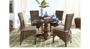 key west tobacco 5 pc round dining room rattan chairs casual