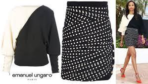 zoe saldana u0027s emanuel ungaro monochrome sweater and pleated polka