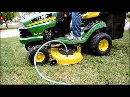 john deere riding mower deck auto wash la 105 youtube